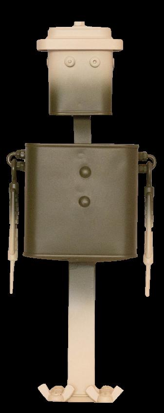 Photo en pied du robot Jacky de la série Tradi