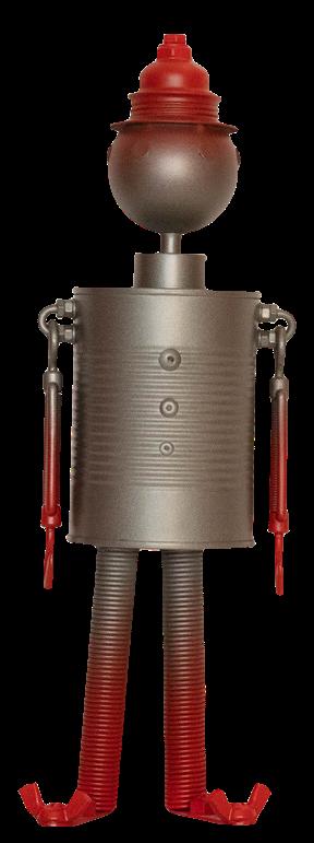 Photo en pied du robot Tracy rouge de la série Tradi